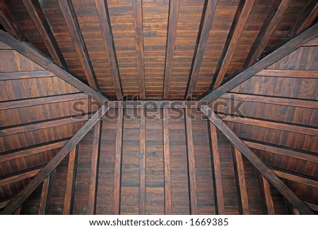 Stylish, new wooden ceiling in luxury house or villa - stock photo