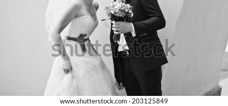 Stylish newlywed caucasian couple together. Wedding day. - stock photo