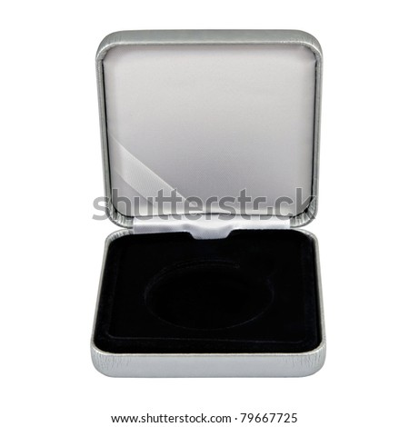 stylish opened leather silver case with black  interior isolated over white - stock photo