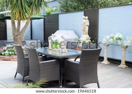 Stylish outdoor terrace - stock photo