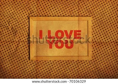 stylish photo frame on glamour pattern, i love you - stock photo