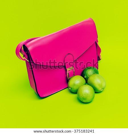 Stylish Pink Ladies Bag.  Love bright colors. - stock photo