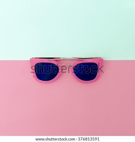 Stylish Pink Sunglasses. Minimalism Fashion Style - stock photo