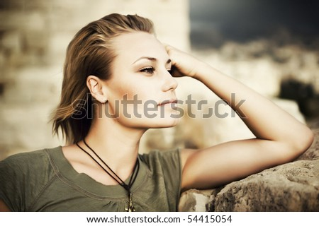 Stylish Portrait of Beautiful Model - stock photo