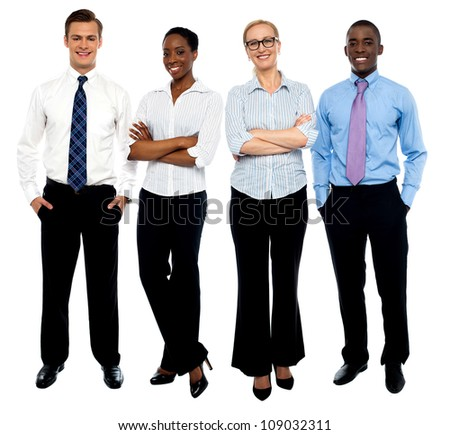 Stylish portrait of four business people, men and women - stock photo