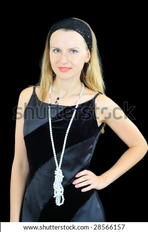 Stylish pretty girl, isolated on black - stock photo