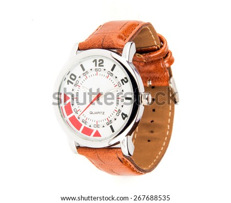 Stylish quartz leather watch with sleek and colorful dial - stock photo