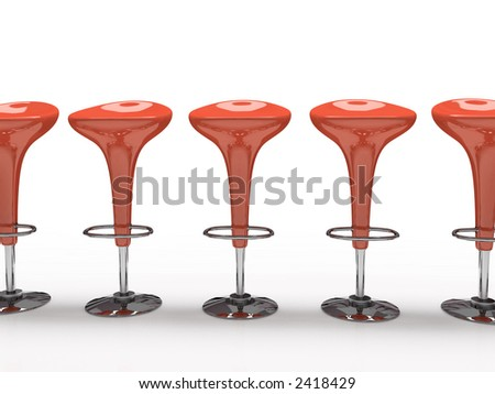Stylish red cafeteria chair isolated on black background - stock photo