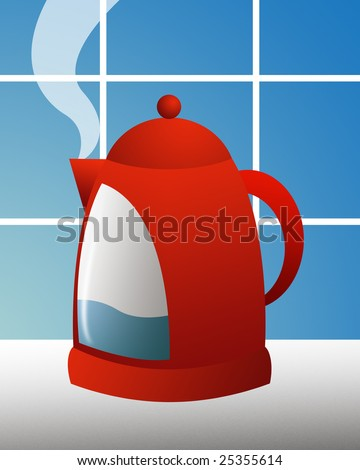 stylish red kettle against blue tiled kitchen wall