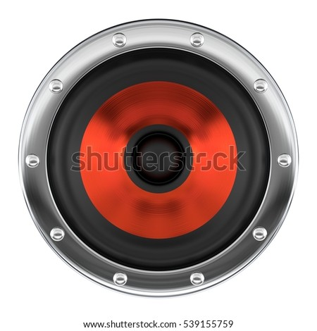 Stylish red loudspeaker isolated on white 3D illustration