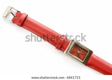 Stylish red watch on a white background - stock photo