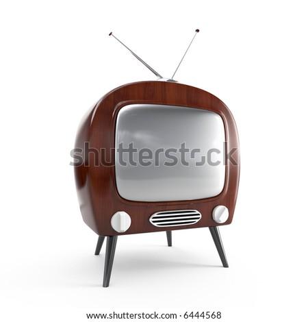 Stylish retro TV in dark wood case - isolated - stock photo
