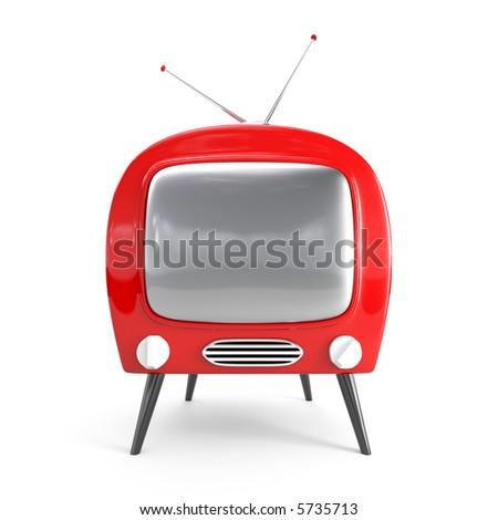 Stylish retro TV - isolated - stock photo