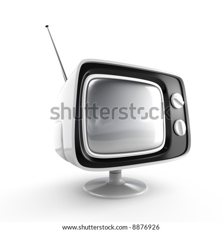 Stylish retro TV - white edition. More TV in my portfolio. - stock photo