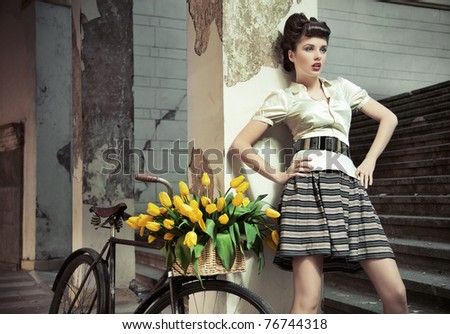Stylish retro young lady - stock photo