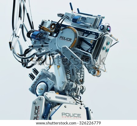 Stylish robot policeman. 3d render of futuristic defender of rules and order / Robot policeman