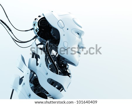 Stylish robot with wires and see through neck skeleton. Studio shot - stock photo