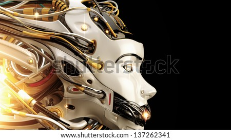 Stylish robot with wires - dreadlocks and gap on mouth / Illuminated robotic girl - stock photo