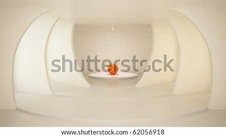 Stylish room with arcs, clean interior, illuminated center, 3d illustration - stock photo