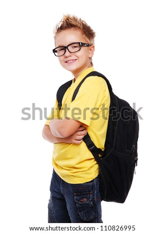 Stylish schoolboy closeup portrait