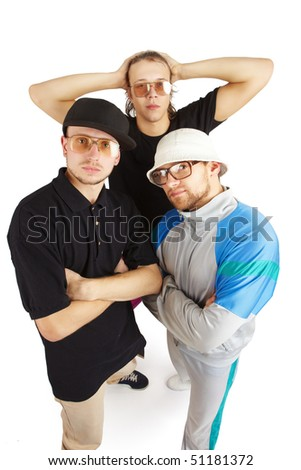 Stylish serious company. Isolated over white - stock photo