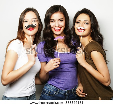 Stylish sexy hipster girls best friends ready for party. - stock photo