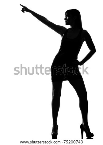 stylish sexy silhouette caucasian beautiful woman dancer dancing pose posture on studio isolated white background - stock photo