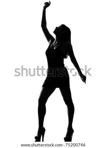 stylish silhouette caucasian beautiful woman dancing full length on studio isolated white background - stock photo