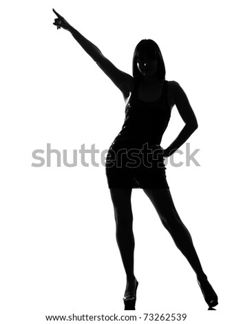 stylish silhouette caucasian beautiful woman dancing posture pointing full length on studio isolated white background