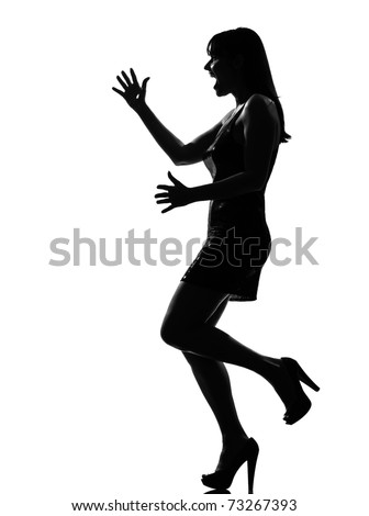 stylish silhouette caucasian beautiful woman happy welcoming surprised full length on studio isolated white bwelcoming amazed ackground - stock photo