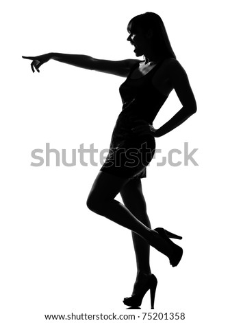 stylish silhouette caucasian beautiful woman laughing pointing gesture full length on studio isolated white background