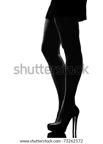 stylish silhouette caucasian beautiful woman legs shoes high heels  stileletto silhouette on studio isolated white background - stock photo