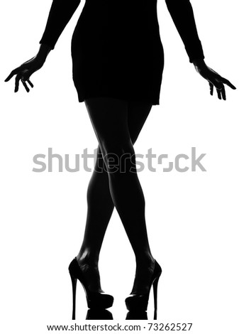 stylish silhouette caucasian beautiful woman legs shoes high heels  stiletto silhouette on studio isolated white background - stock photo
