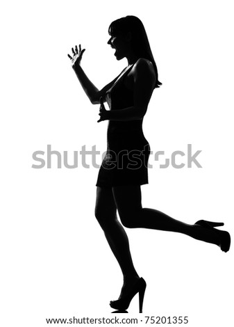 stylish silhouette caucasian beautiful woman surprised welcoming full length on studio isolated white background - stock photo