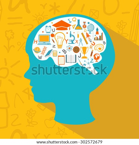 Stylish sky blue silhouette of a boy with colorful creative educational elements in his brain.