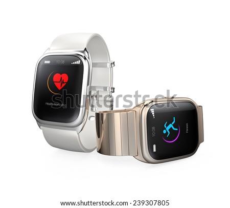 Stylish smart watches isolated on white background - stock photo