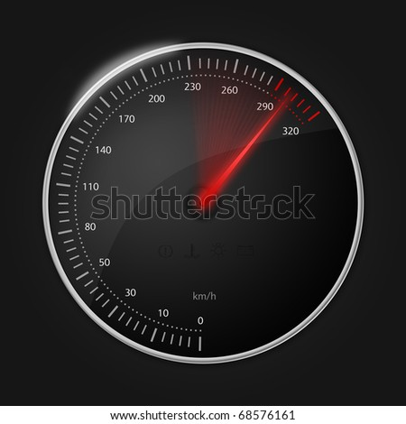 Stylish speedometer with glowing red speed indicator - stock photo