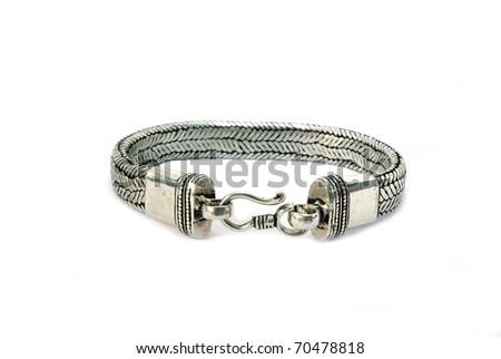 Stylish steel bracelet on white background isolated - stock photo