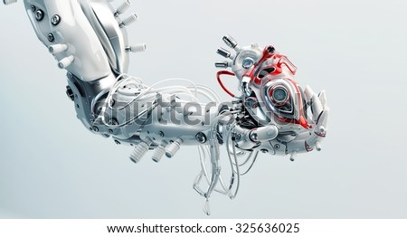 Stylish steel robot arm holds artificial futuristic heart / Metal artificial arm with heart  - stock photo