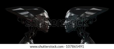 Stylish steel robotic girls - stock photo