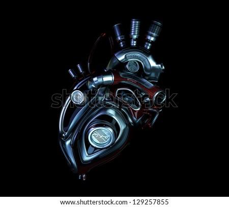 Stylish steel robotic heart. 3d render / Metal heart - stock photo