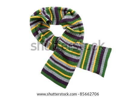 stylish striped scarf - stock photo