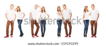 Stylish teenage couple. Collection set isolated on white background.