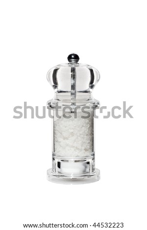 stylish transparent perspex salt mill isolated on white