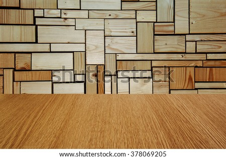 Stylish, varnished wooden background - stage backdrop, wall, flooring, interior, with depth and perspective - with copy / text space for your design.