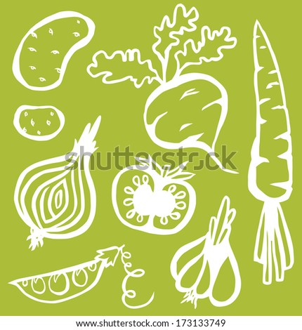 Stylish Vegetables On Green Background - stock photo