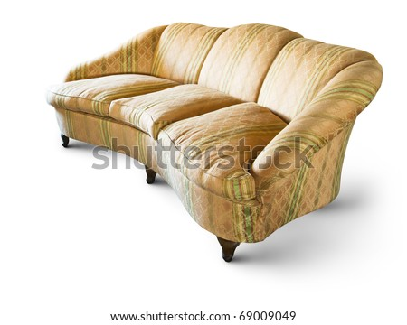 stylish vintage sofa isolated with clipping path and shadow on white - stock photo