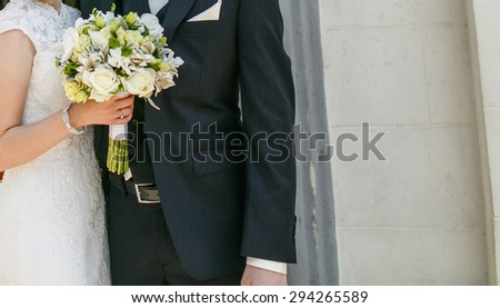 Stylish wedding couple. Groom and bride together.  - stock photo