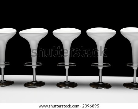 Stylish white cafeteria chair isolated on black background - stock photo