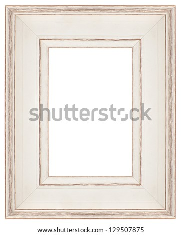 Stylish white Frame isolated on white background. - stock photo